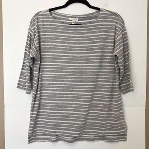 Eileen Fisher 3/4 Sleeve White and Gray Tencel Tee